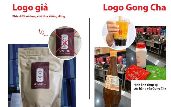 Phân biệt logo, bao bì của Gong Cha. (Ảnh: Gong Cha Vietnam).